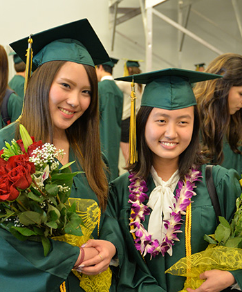Photo of international students at commencement